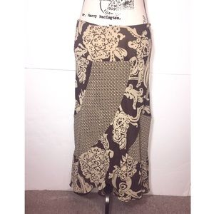 Bandolino Asymmetrical Ruffle Maxi Skirt Damask